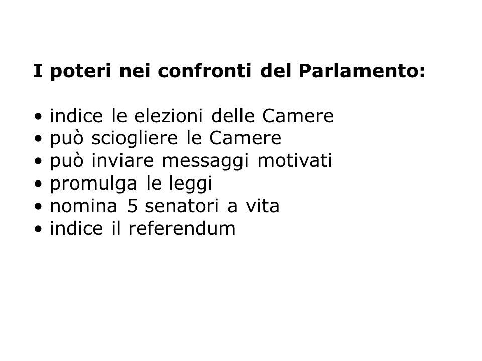 I poteri nei confronti del Parlamento: