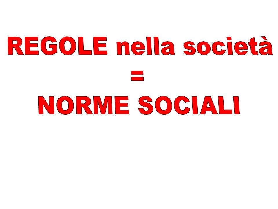 REGOLE nella società = NORME SOCIALI
