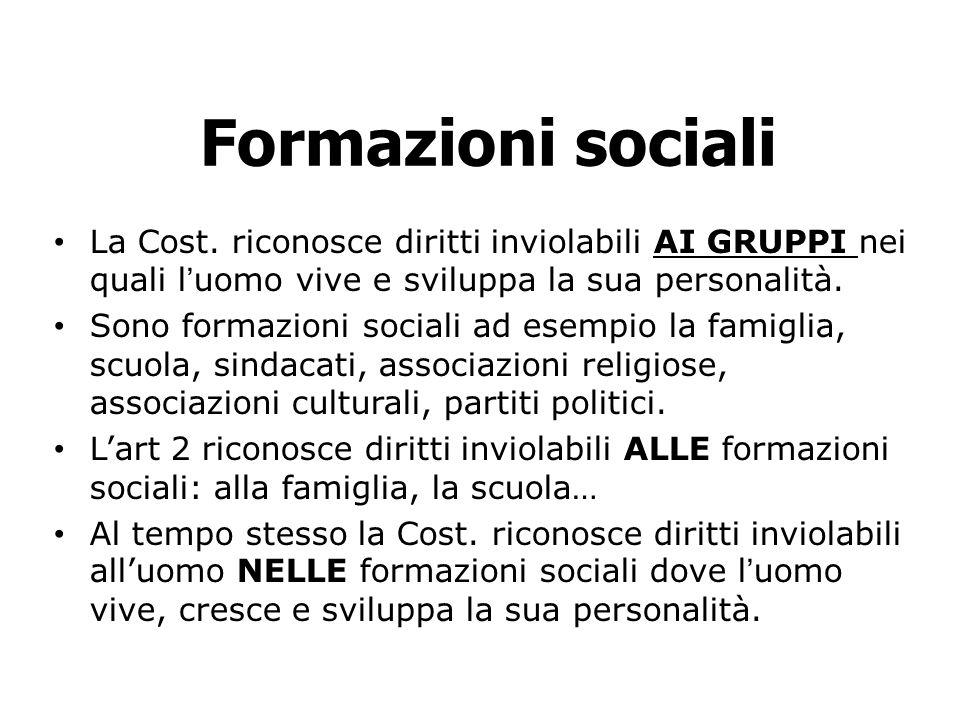 Formazioni sociali La Cost. riconosce diritti inviolabili AI GRUPPI nei quali l'uomo vive e sviluppa la sua personalità.