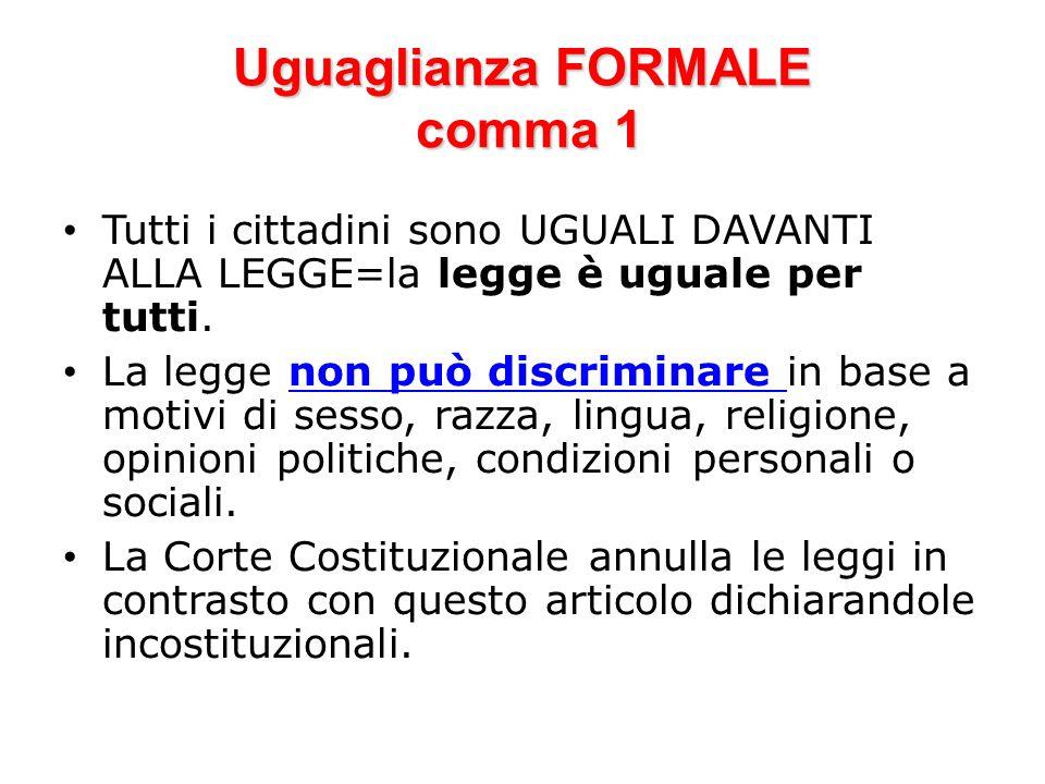 Uguaglianza FORMALE comma 1