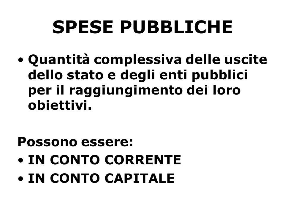 SPESE PUBBLICHE Quantità complessiva delle uscite dello stato e degli enti pubblici per il raggiungimento dei loro obiettivi.