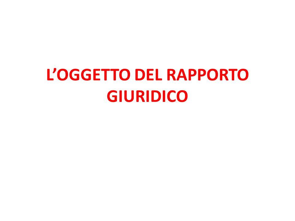 L'OGGETTO DEL RAPPORTO GIURIDICO