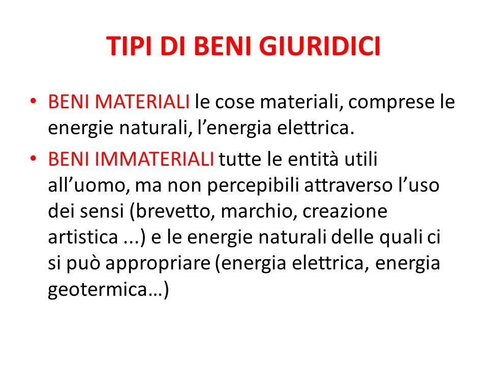 TIPI DI BENI GIURIDICI BENI MATERIALI le cose materiali, comprese le energie naturali, l'energia elettrica.