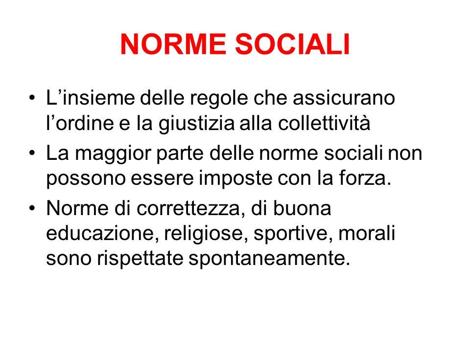 NORME SOCIALI L'insieme delle regole che assicurano l'ordine e la giustizia alla collettività.