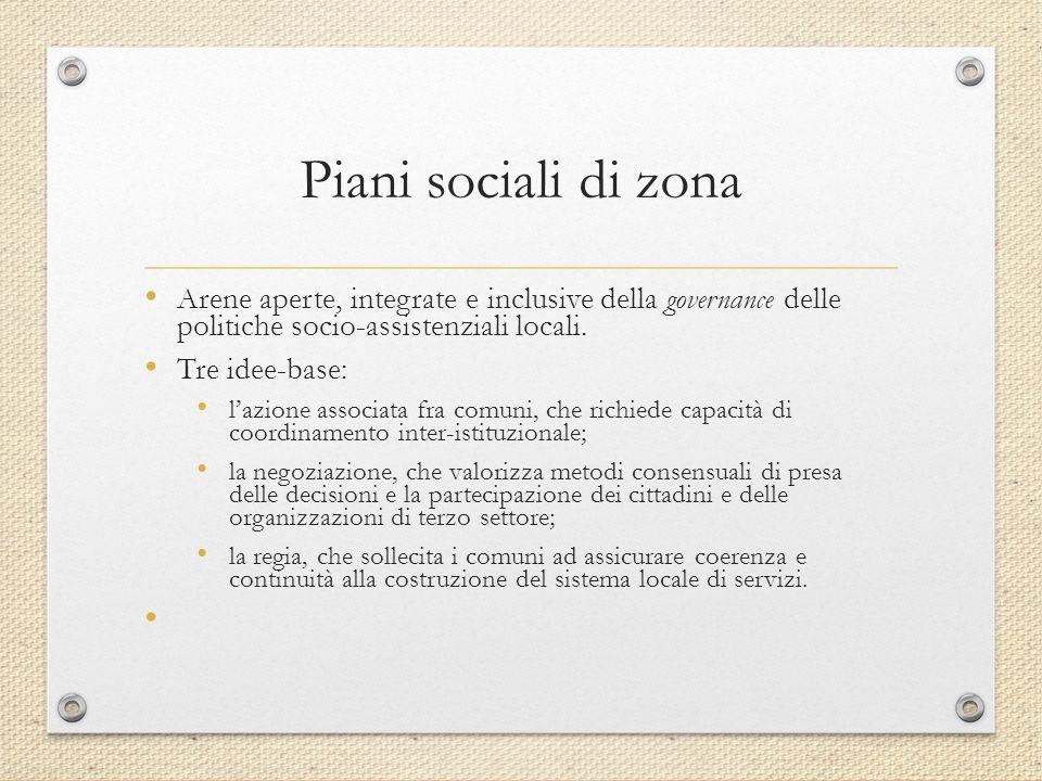 Piani sociali di zona Arene aperte, integrate e inclusive della governance delle politiche socio-assistenziali locali.