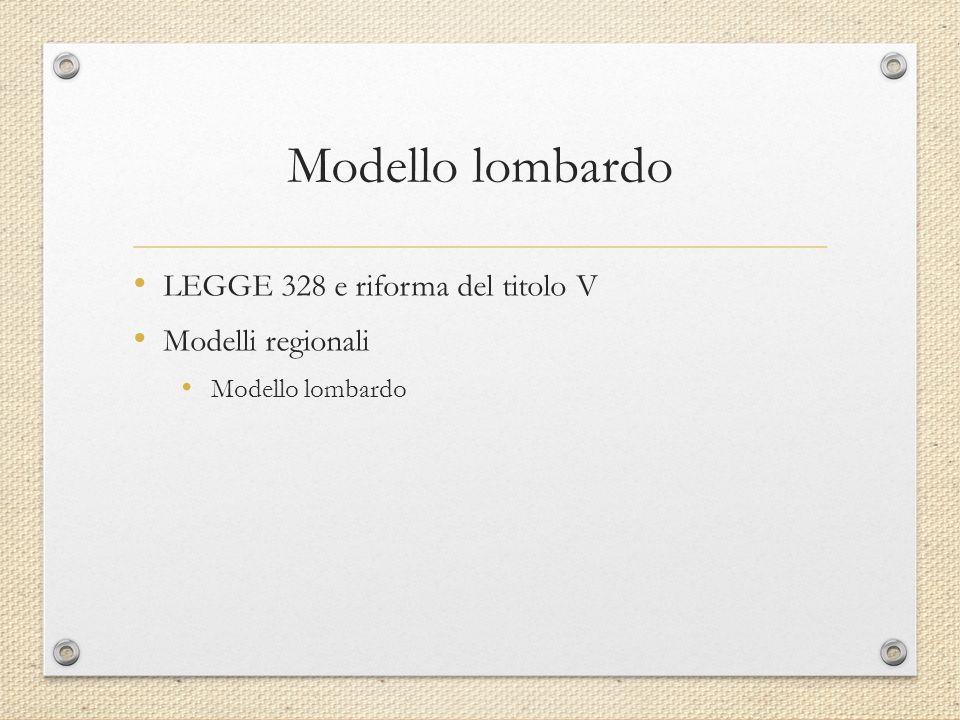 Modello lombardo LEGGE 328 e riforma del titolo V Modelli regionali