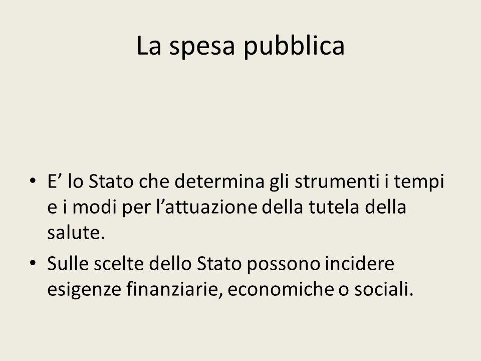 La spesa pubblica E' lo Stato che determina gli strumenti i tempi e i modi per l'attuazione della tutela della salute.