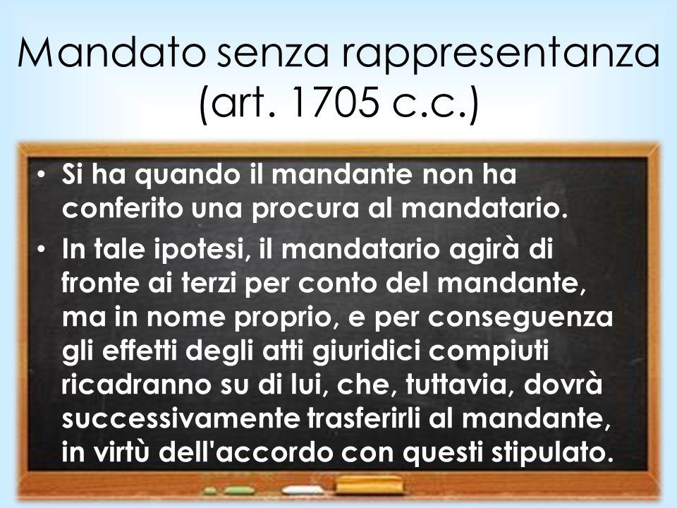 Mandato senza rappresentanza (art. 1705 c.c.)