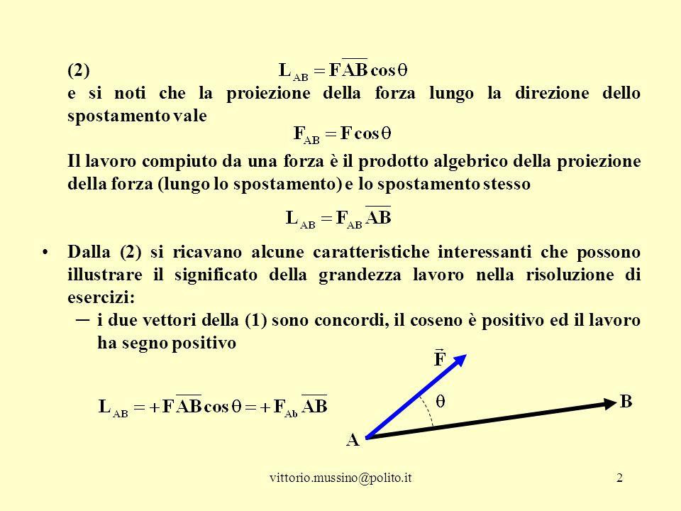 (2) e si noti che la proiezione della forza lungo la direzione dello spostamento vale.