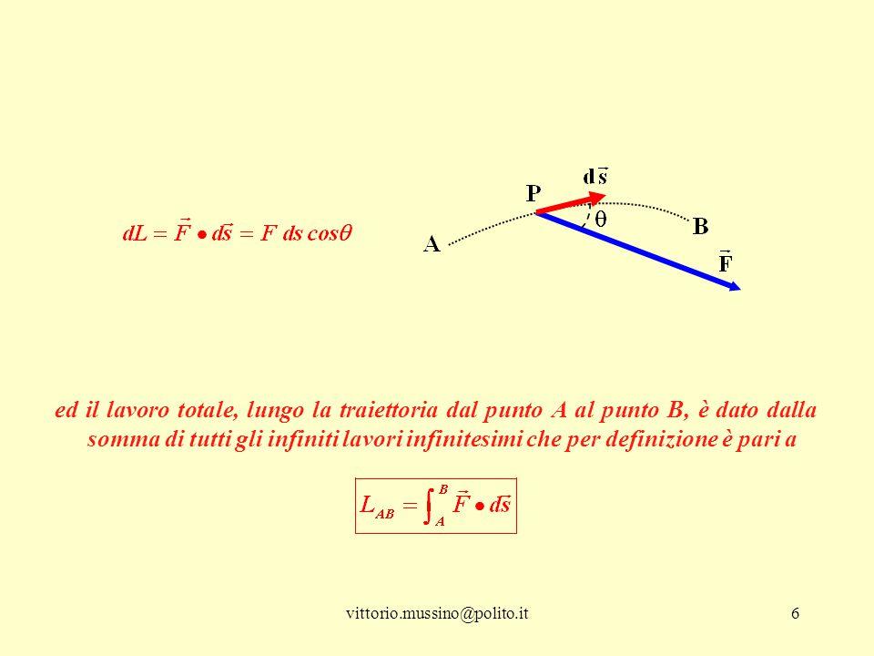 ed il lavoro totale, lungo la traiettoria dal punto A al punto B, è dato dalla somma di tutti gli infiniti lavori infinitesimi che per definizione è pari a