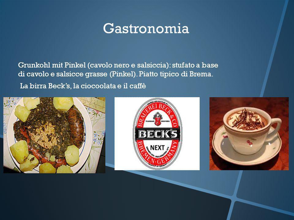 Gastronomia Grunkohl mit Pinkel (cavolo nero e salsiccia): stufato a base di cavolo e salsicce grasse (Pinkel). Piatto tipico di Brema.