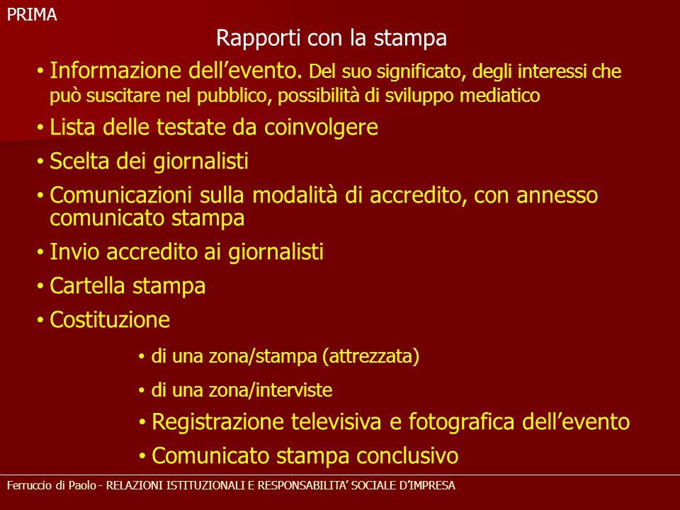 Lista delle testate da coinvolgere Scelta dei giornalisti