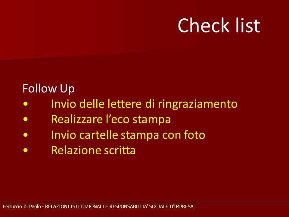Check list Follow Up • Invio delle lettere di ringraziamento