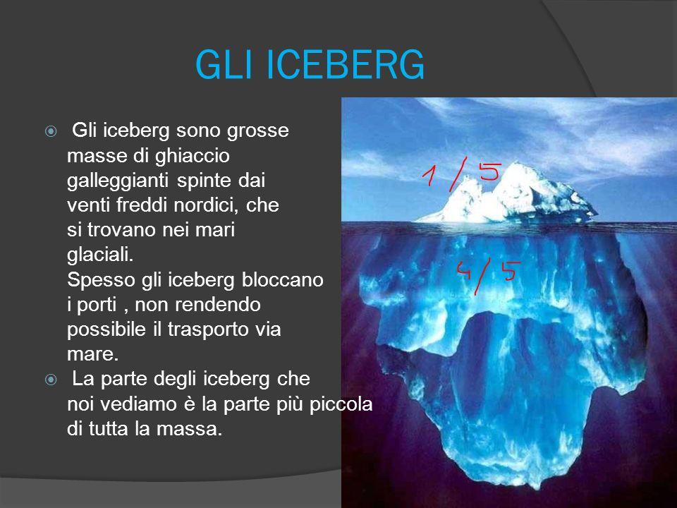 GLI ICEBERG Gli iceberg sono grosse masse di ghiaccio