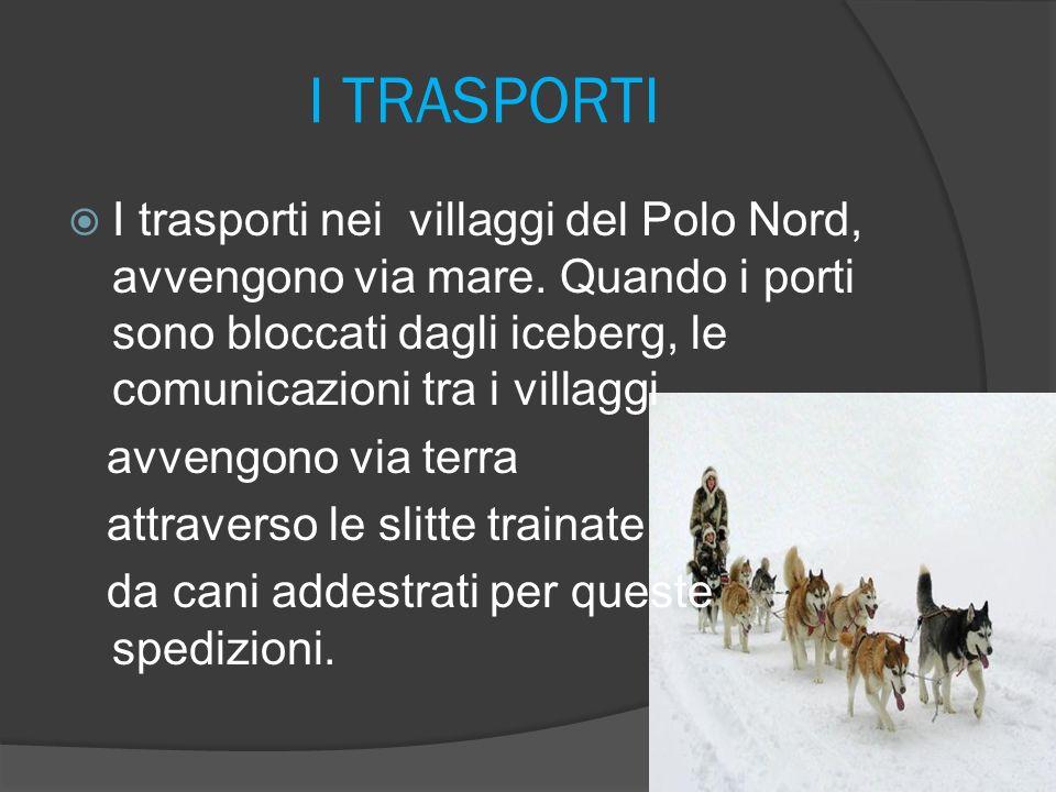 I TRASPORTI I trasporti nei villaggi del Polo Nord, avvengono via mare. Quando i porti sono bloccati dagli iceberg, le comunicazioni tra i villaggi.