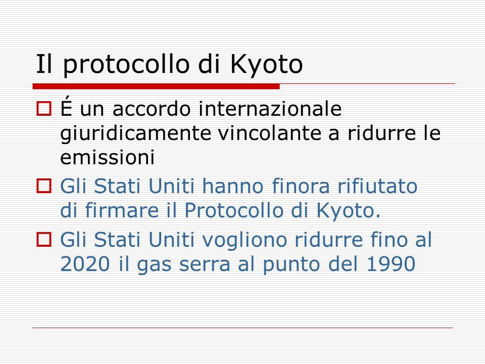 Il protocollo di KyotoÉ un accordo internazionale giuridicamente vincolante a ridurre le emissioni.