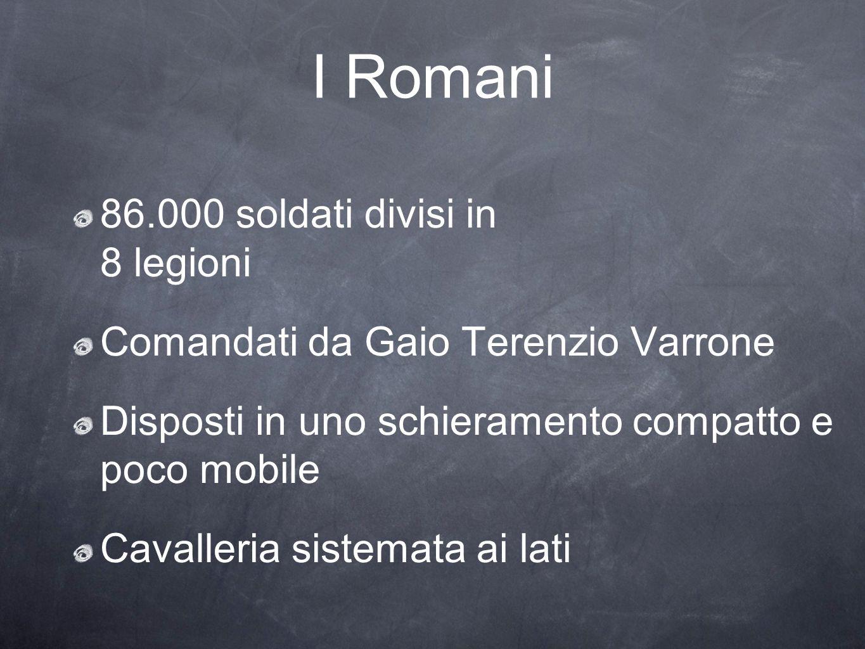 I Romani 86.000 soldati divisi in 8 legioni