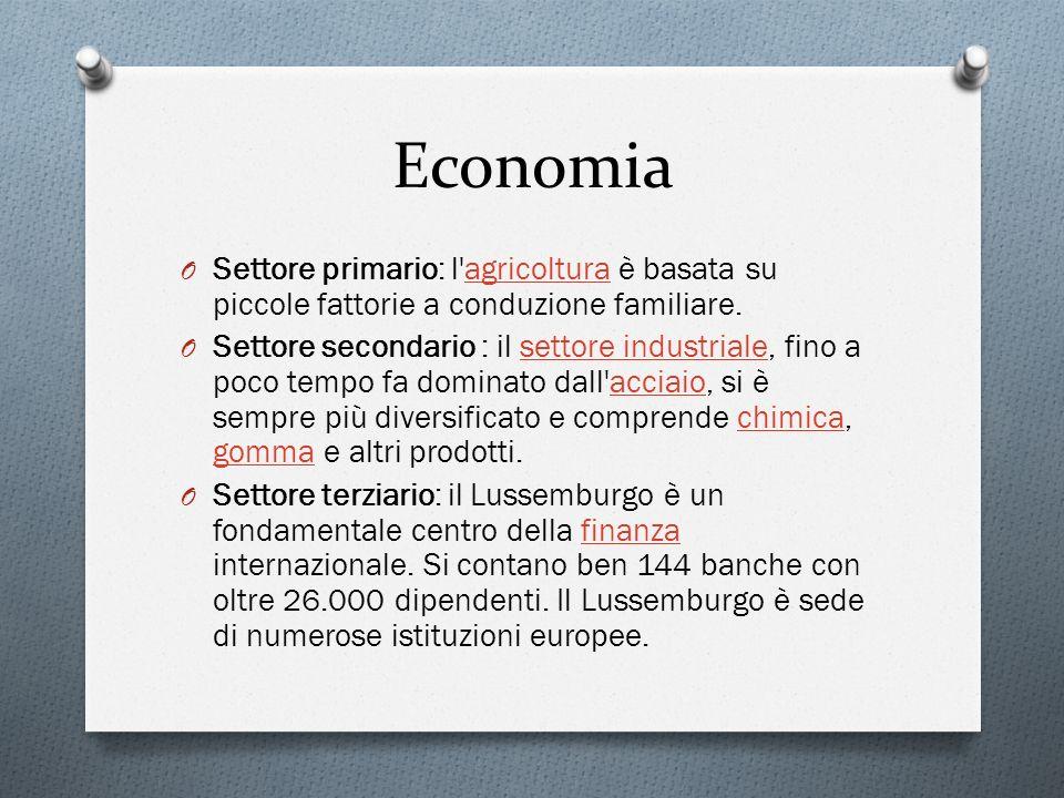Economia Settore primario: l agricoltura è basata su piccole fattorie a conduzione familiare.