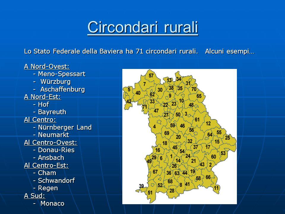 Circondari rurali Lo Stato Federale della Baviera ha 71 circondari rurali. Alcuni esempi… A Nord-Ovest: