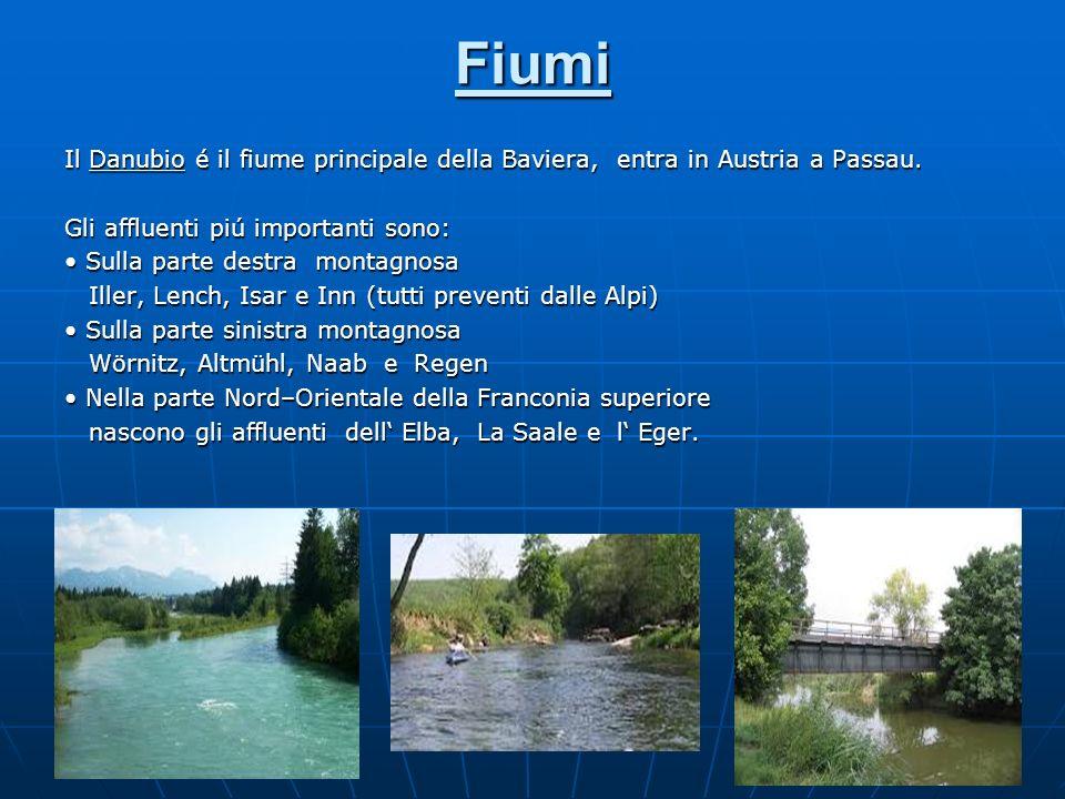 Fiumi Il Danubio é il fiume principale della Baviera, entra in Austria a Passau. Gli affluenti piú importanti sono: