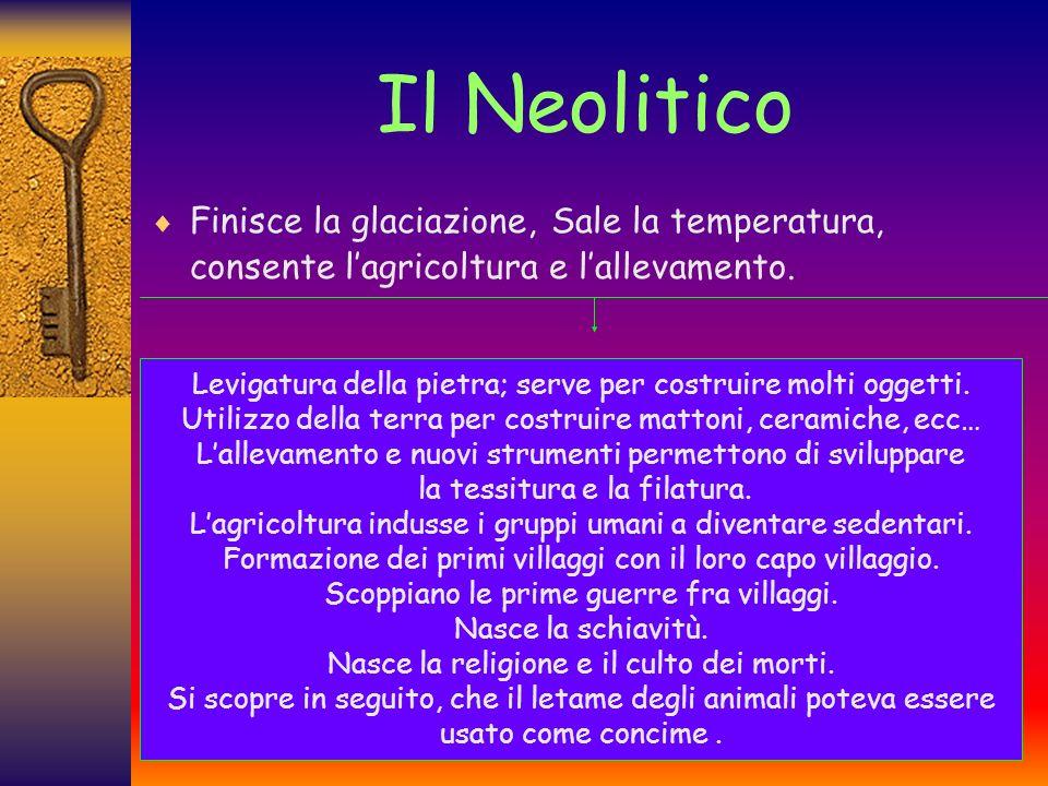 Il Neolitico Finisce la glaciazione, Sale la temperatura, consente l'agricoltura e l'allevamento.