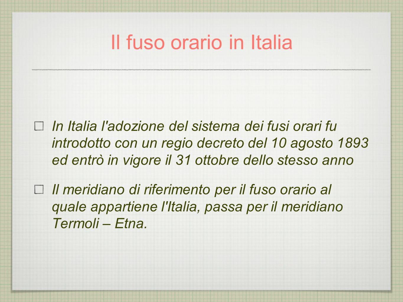 Il fuso orario in Italia