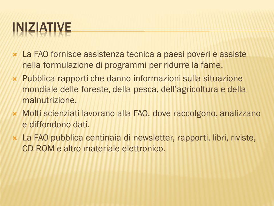 Iniziative La FAO fornisce assistenza tecnica a paesi poveri e assiste nella formulazione di programmi per ridurre la fame.