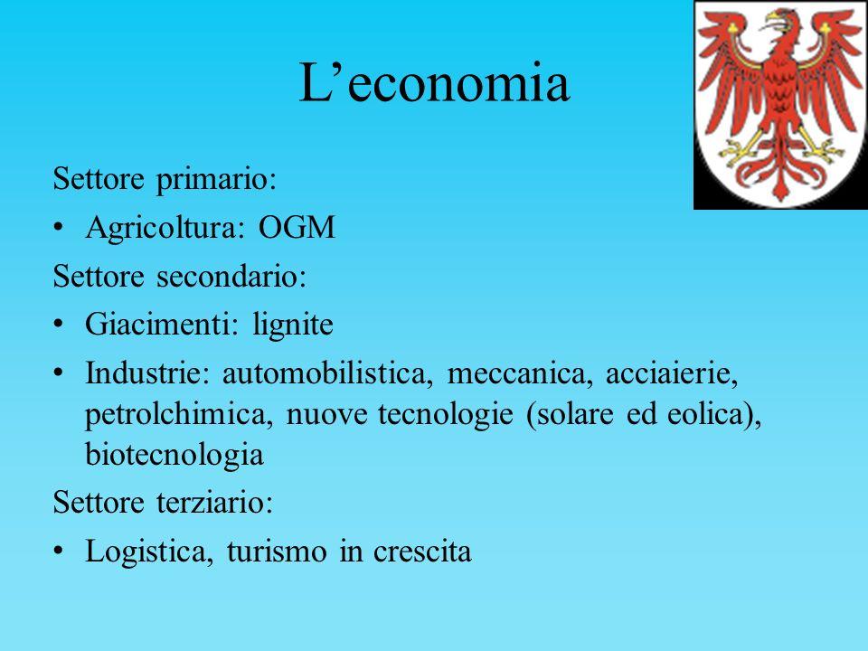 L'economia Settore primario: Agricoltura: OGM Settore secondario: