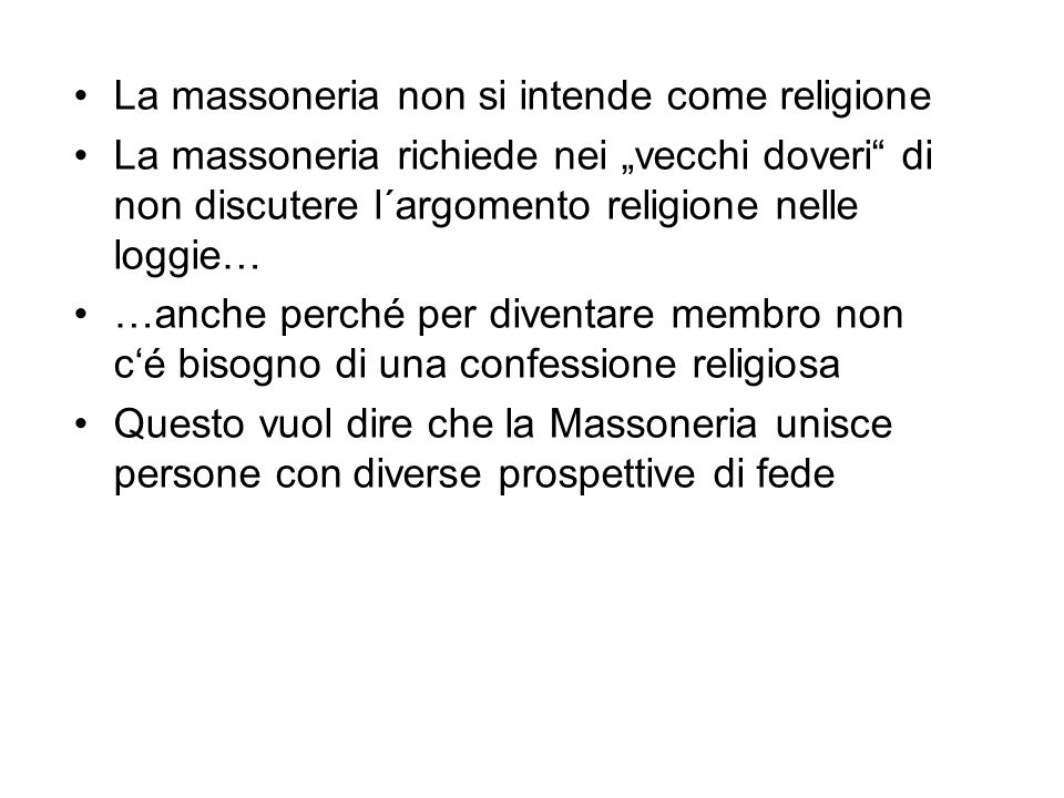 La massoneria non si intende come religione