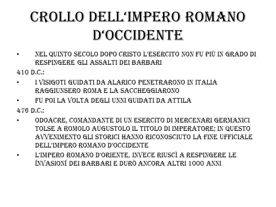 Crollo dell'impero romano d'occidente