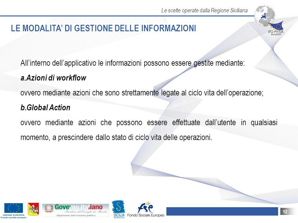 LE MODALITA' DI GESTIONE DELLE INFORMAZIONI