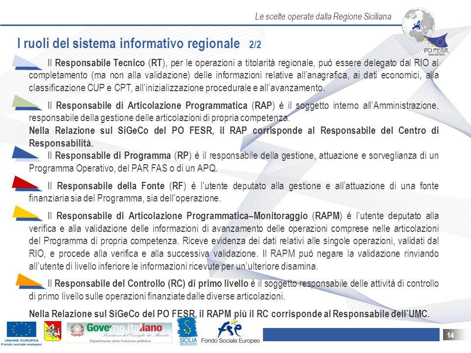 I ruoli del sistema informativo regionale 2/2