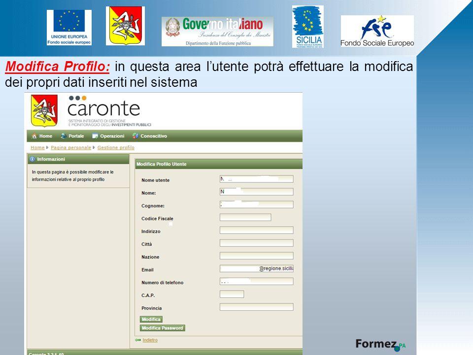 Modifica Profilo: in questa area l'utente potrà effettuare la modifica dei propri dati inseriti nel sistema
