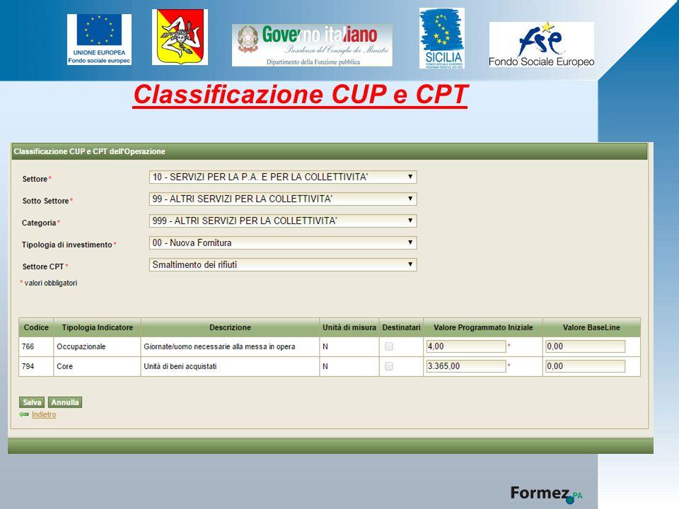 Classificazione CUP e CPT