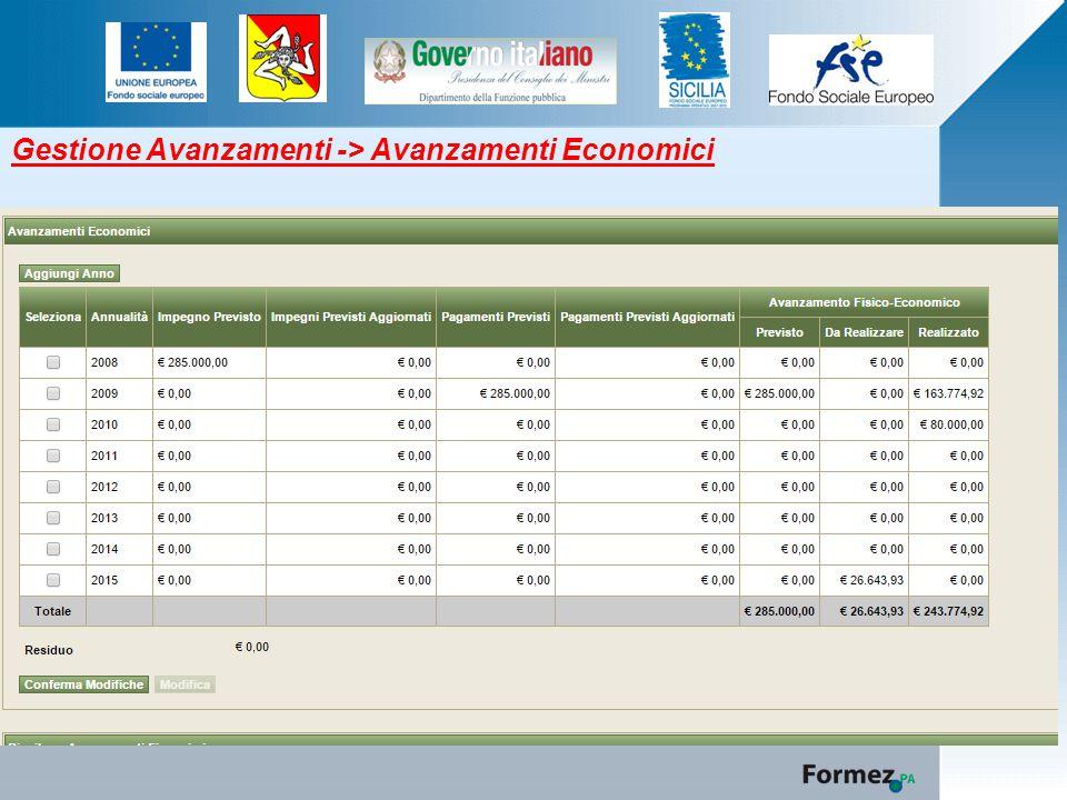 Gestione Avanzamenti -> Avanzamenti Economici