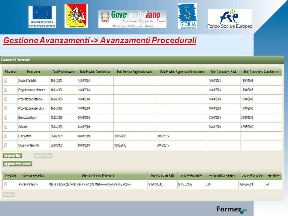 Gestione Avanzamenti -> Avanzamenti Procedurali