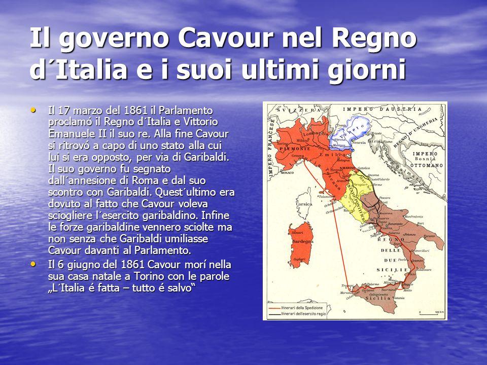 Il governo Cavour nel Regno d´Italia e i suoi ultimi giorni