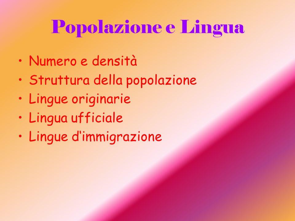 Popolazione e Lingua Numero e densità Struttura della popolazione