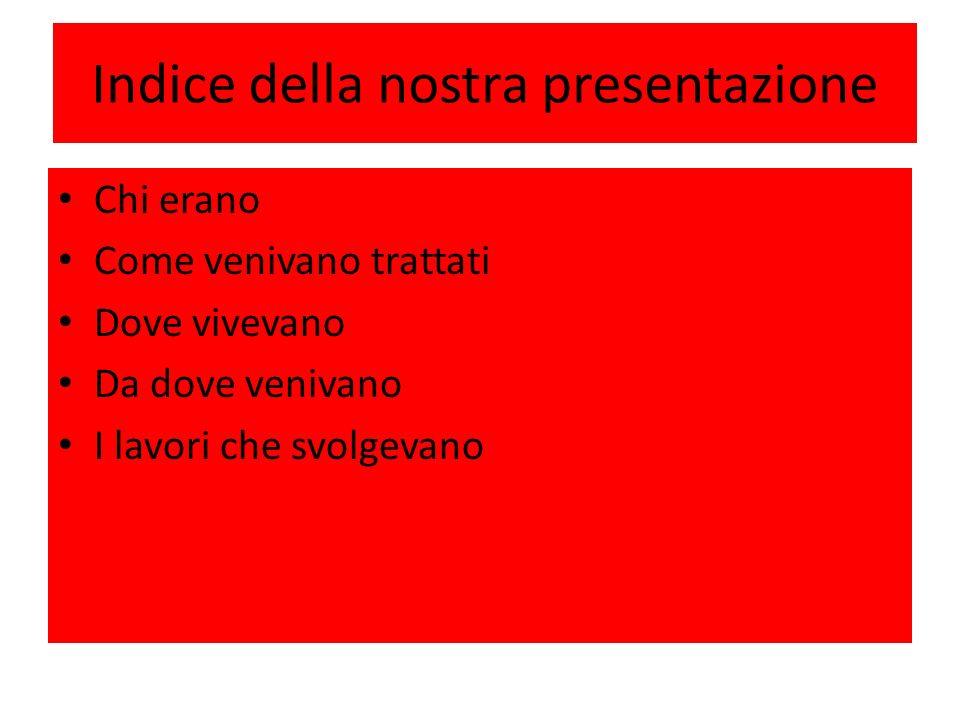 Indice della nostra presentazione