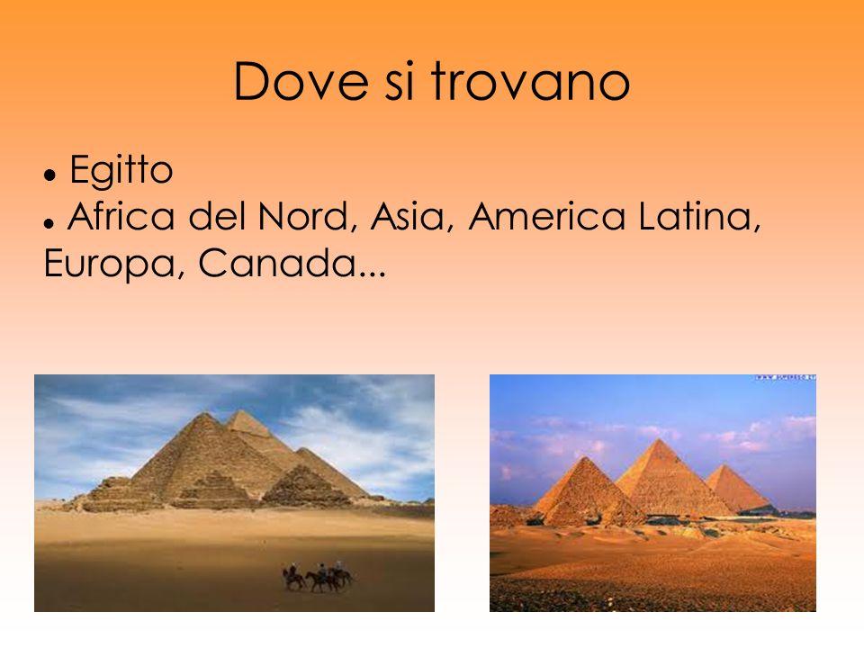 Dove si trovano Egitto. Africa del Nord, Asia, America Latina, Europa, Canada... In Egitto, ci sono circa 80 piramidi conosciute.