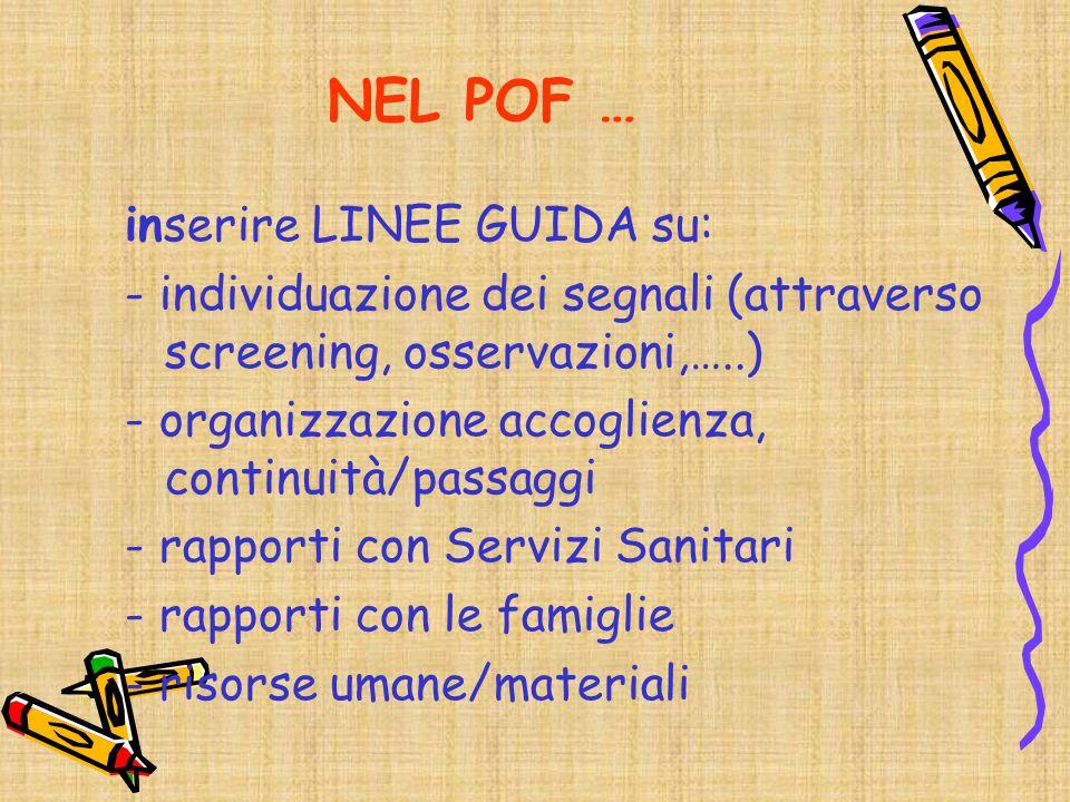 NEL POF … inserire LINEE GUIDA su:
