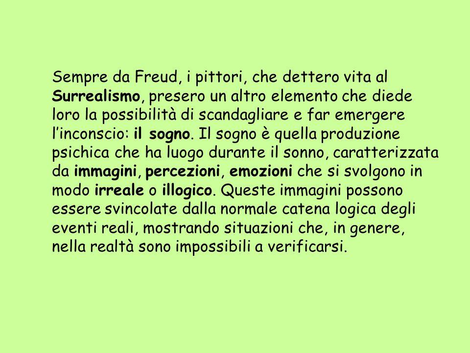 Sempre da Freud, i pittori, che dettero vita al Surrealismo, presero un altro elemento che diede loro la possibilità di scandagliare e far emergere l'inconscio: il sogno.