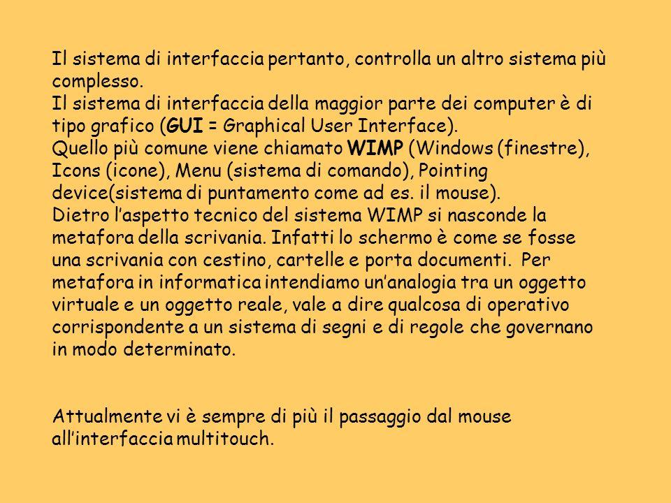 Il sistema di interfaccia pertanto, controlla un altro sistema più complesso.