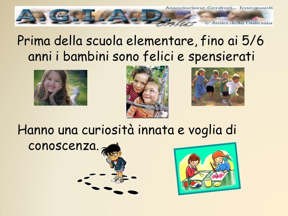 Prima della scuola elementare, fino ai 5/6 anni i bambini sono felici e spensierati