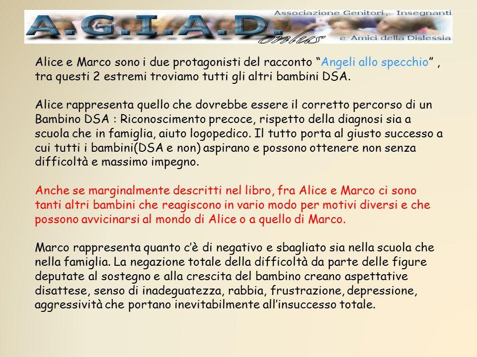 Alice e Marco sono i due protagonisti del racconto Angeli allo specchio , tra questi 2 estremi troviamo tutti gli altri bambini DSA.