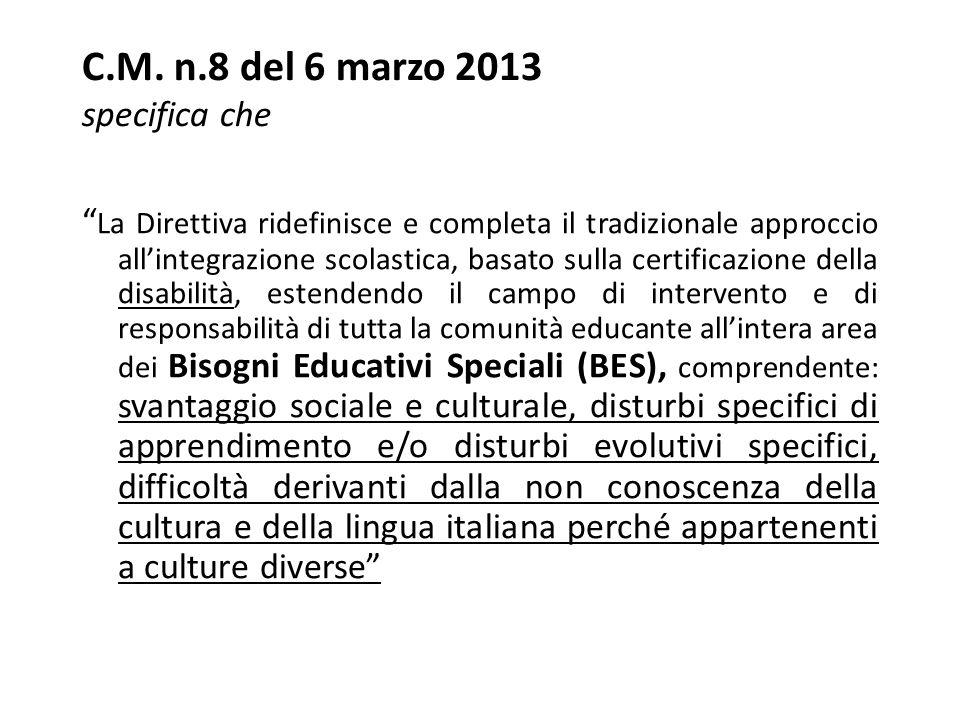 C.M. n.8 del 6 marzo 2013 specifica che