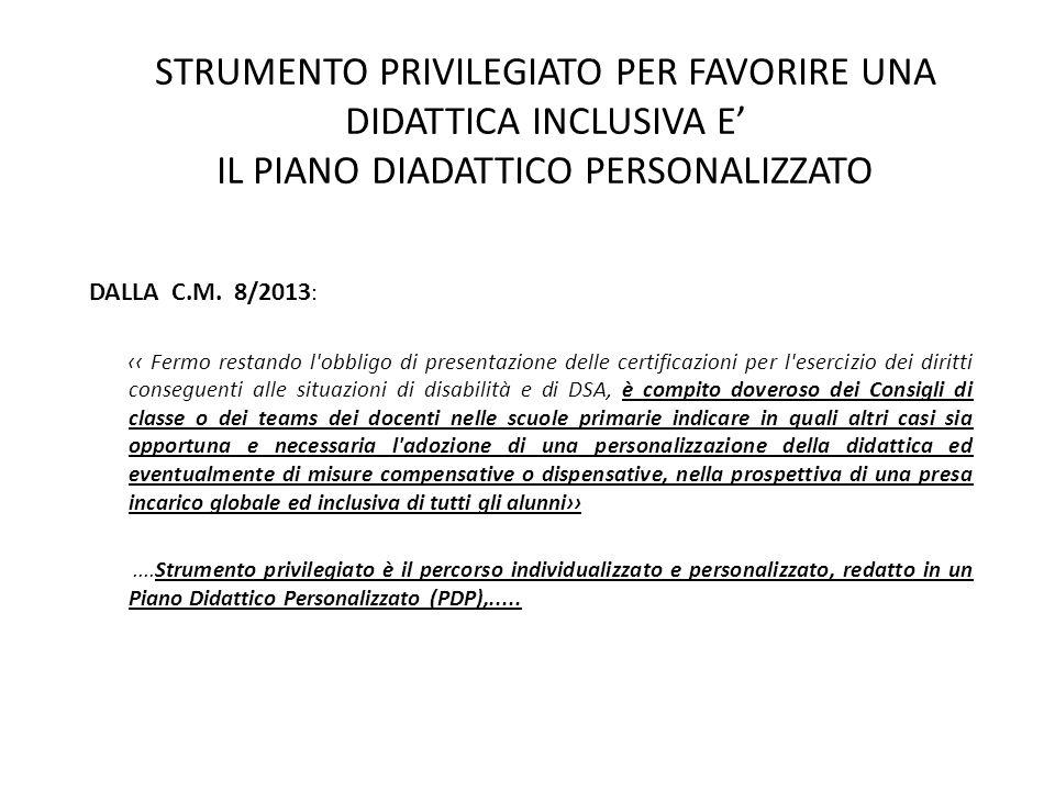 STRUMENTO PRIVILEGIATO PER FAVORIRE UNA DIDATTICA INCLUSIVA E' IL PIANO DIADATTICO PERSONALIZZATO