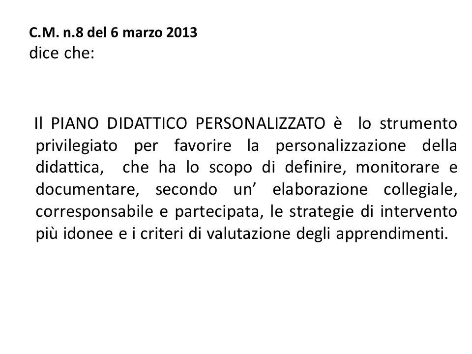 C.M. n.8 del 6 marzo 2013 dice che: