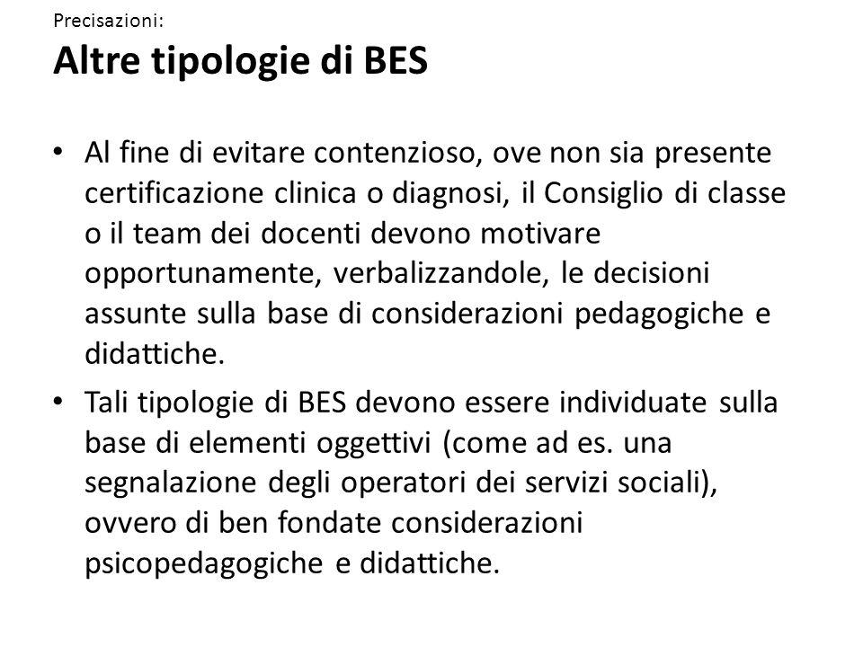 Precisazioni: Altre tipologie di BES