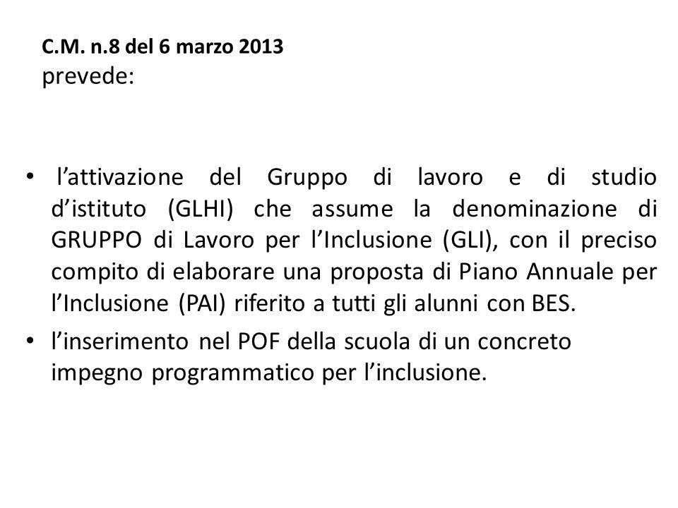 C.M. n.8 del 6 marzo 2013 prevede: